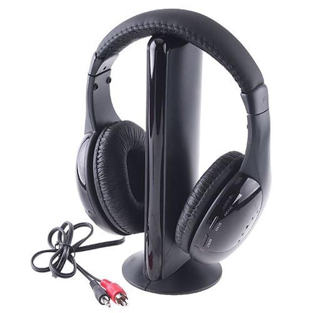 5-in-1 Hi-Fi FM RF Wireless Headphone System (Wireless Reception From TV) For MP3 PC TV CD DVD DC(Black)
