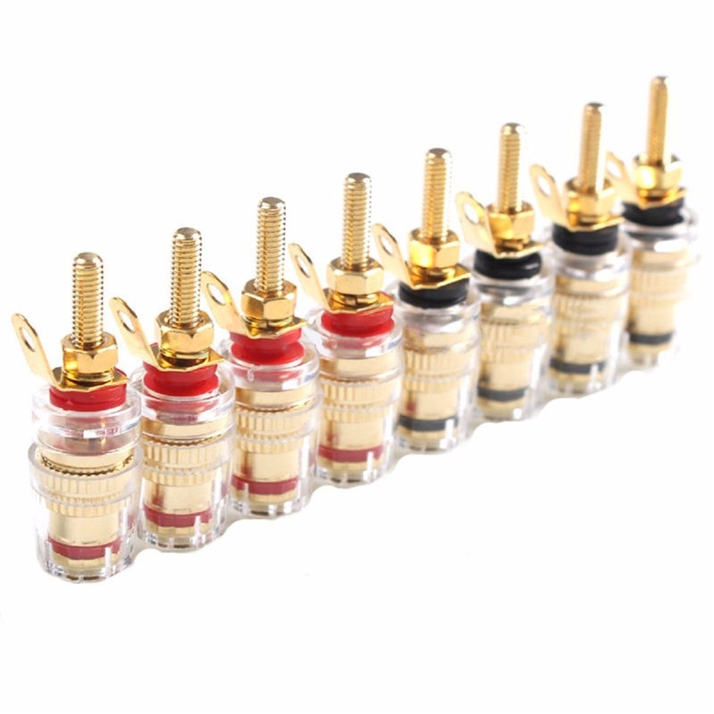 Mayitr 8pcs 42MM Gold Plated Speaker Terminal Binding Post Low Frequency Amplifier Connector Long Plug For 4mm Banana Plugs
