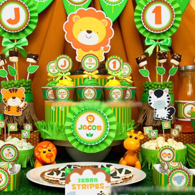 11 27 Personalizar Regalos De Cumpleanos Decoraciones Del Partido Animales De La Selva Jirafa Tigre Leon Tema Ninos Girls Party Kids Nombre Foto