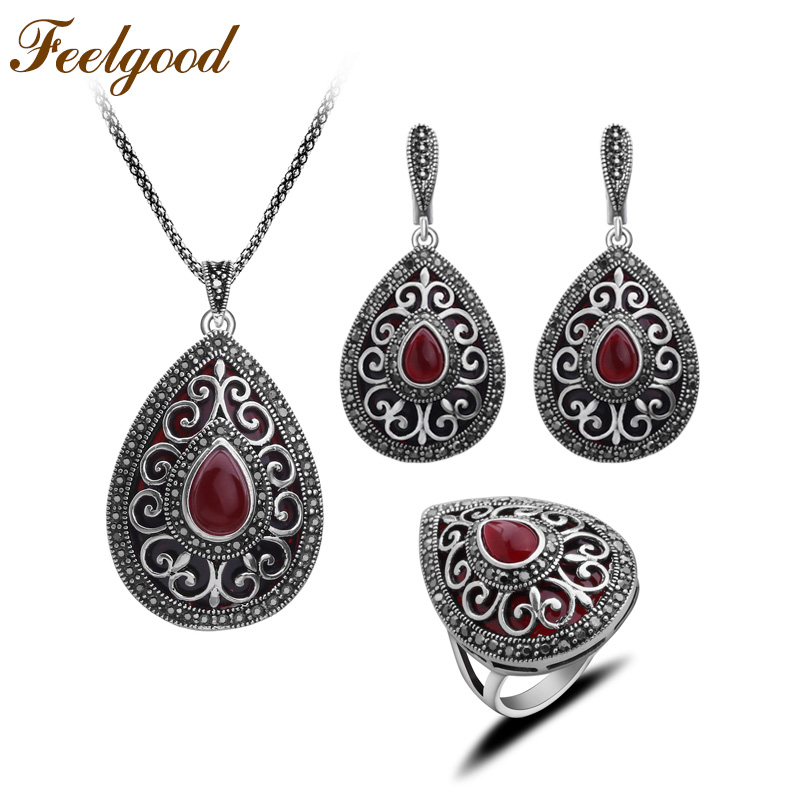 Feelgood Antique Silver Color Turkey Jewellery Vintage Water Drop Pendant Necklace Sets Fashion Women Jewelry Set For Party Gift