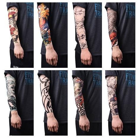 Elastik dövme kollu naylon kol isıtıcı çorap geçici dövme kollu spor Skins güneş koruyucu erkekler dikişsiz sahte dövme
