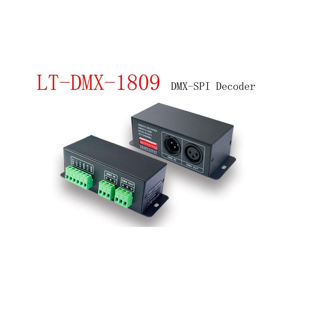 LTECH LT DMX 1809 DMX SPI אות מפענח קלט מתח 5 24Vdc-בבקרי RGB מתוך פנסים ותאורה באתר YuanSi Store