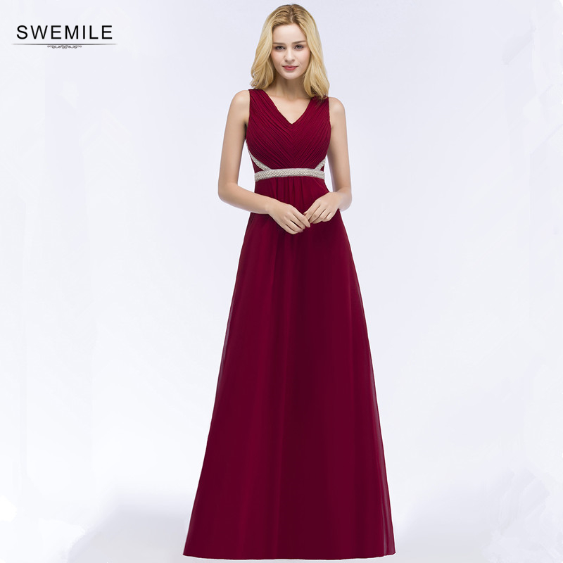 Vestido de Festa Longo Sexy Open Back Burgundy Prom Dresses Long  Cheap V Neck Evening Party Dresses with Beadings Платье