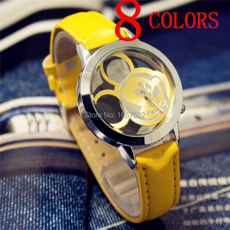 NEW Fashion Lovely women gilrs Hollow Out Minnie Mouse Style Dial Leather Quartz Wrist Watches for lady kids dress mouse watch bracelet style hollow out heart shape quartz wrist watch for women black purple 1 x lr626