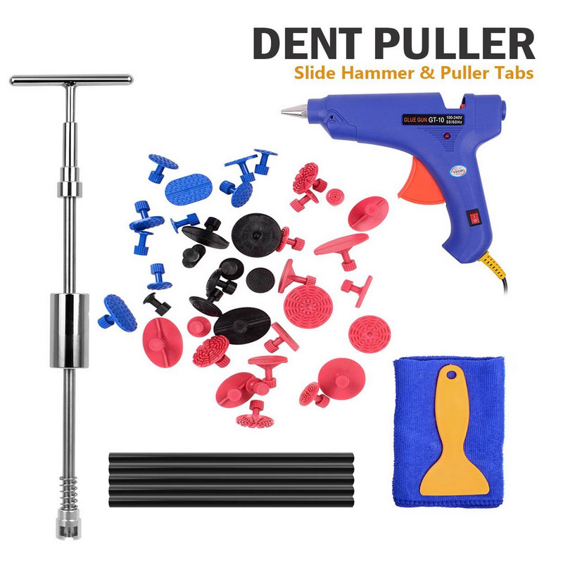 WHDZ PDR Paintless Dent Repair Tools Kit 2in1 Slide Hammer with 39pcs Dent Removal Pulling Tab Glue Gun repair hand tools kits цена