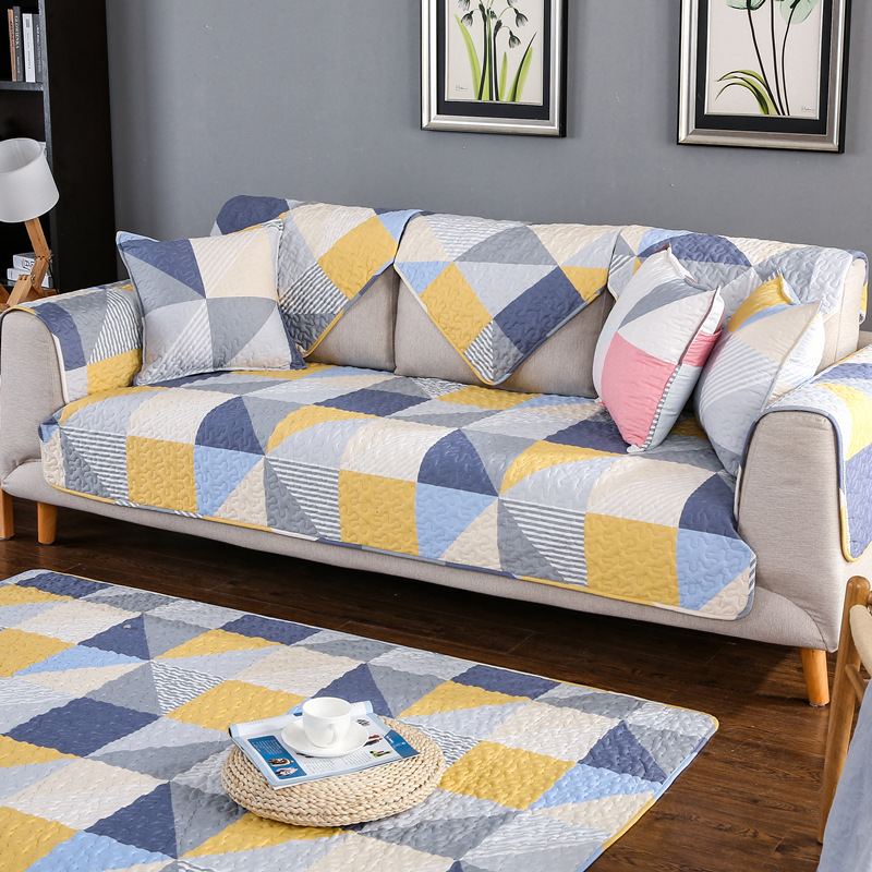 Us 9 36 49 Off 1 Piece Cotton Sofa Cover Geometric Printed Twill Soft Modern Slip Resistant Slipcover Seat Couch For Living Room In