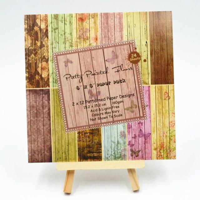 24pcs 6 Single Side Retro Butterfly Wood Grain Paper Craft Art