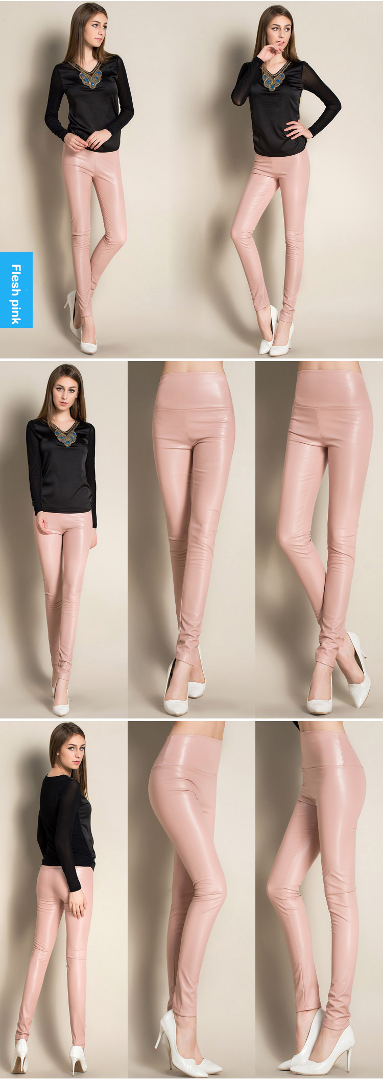 Autumn Winter Women Thin Velvet PU Leather Pants Female Sexy Elastic Stretch Faux Leather Skinny Pencil Pant Women Tight Trouser 49
