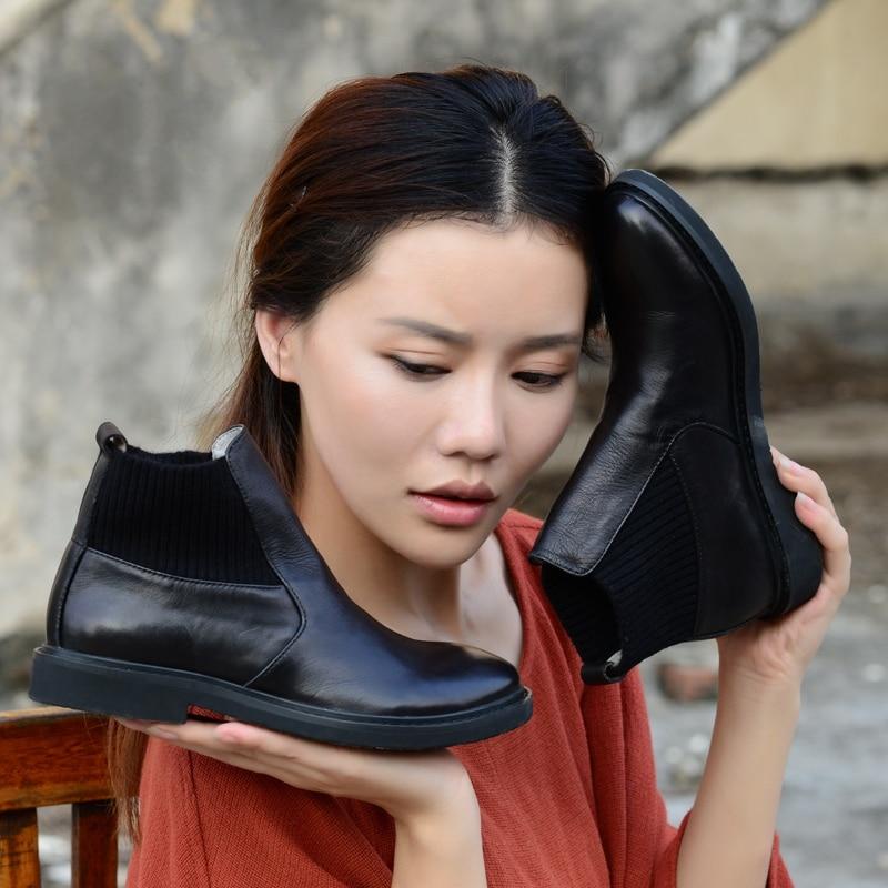 Chelsea Chaussures Xiangban Ronde En Black 2019 Noir Hiver Automne Bas Femme Pour Bottines Talon Femmes Cuir Tête Confortable qwf6ISw