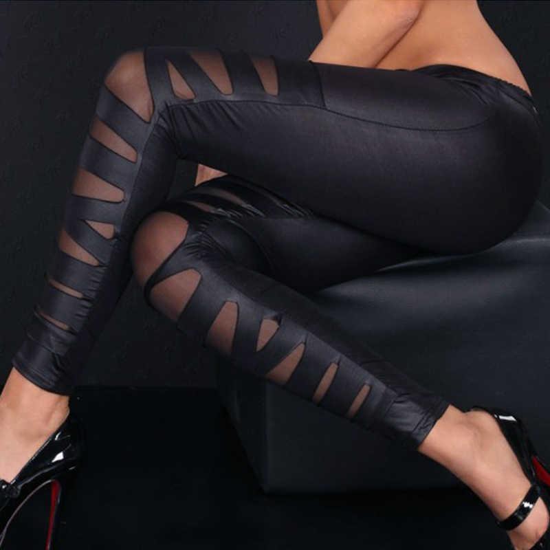 MeiHuiDa 2018 nuevo estilo moda mujer alta cintura cuero estiramiento Casual Patchwork tobillo longitud Pantalones