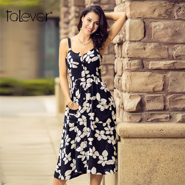 76863468012e8 US $13.33 50% OFF|2018 Women Casual Summer Dress Floral Print Sleeveless  Sling Beach Dress Female Fashion O Neck With Pockets Shirt Dress Talever-in  ...