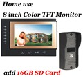 Home use 8 inch Color 16GB SD Card Video Recording Video Door Phone Intercom System With Waterproof IR Camera