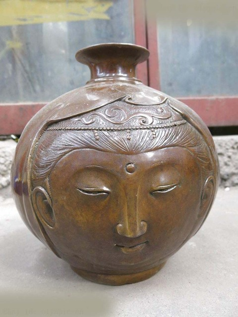 11 China Brass Copper Carved Beautiful Belle Face And Man Face Vase