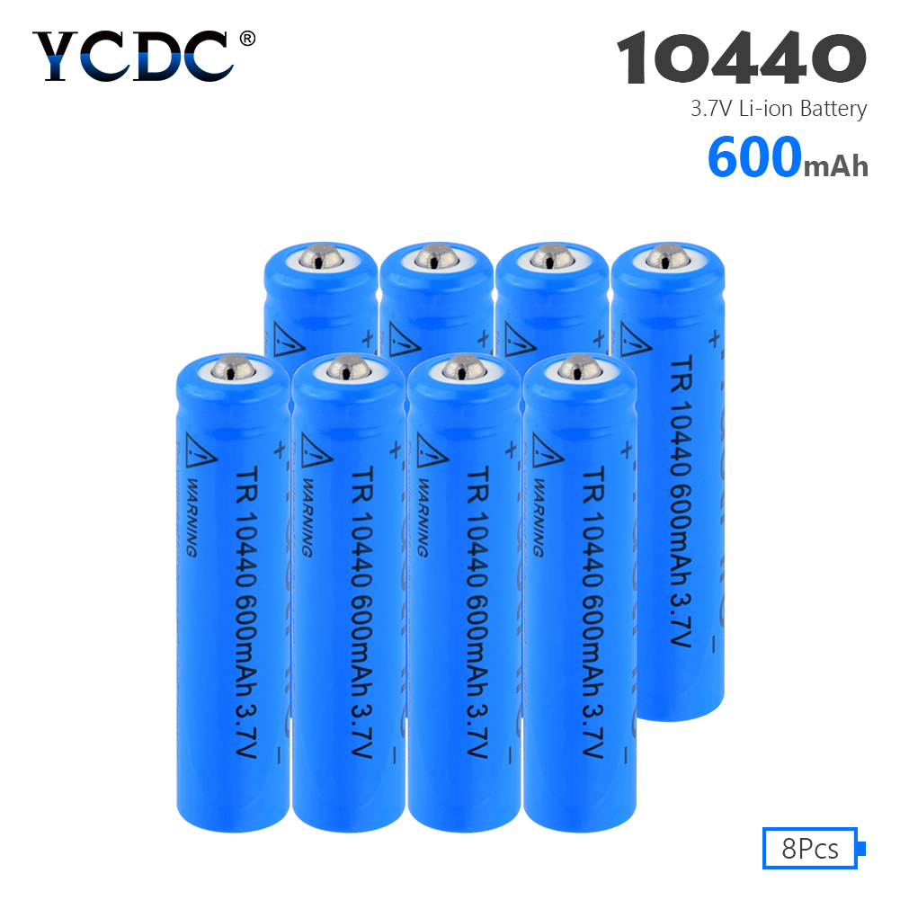 AAA 100% Original Size <font><b>3.7V</b></font> powerful Li-ion Rechargeable 10440 capacity <font><b>600mAh</b></font> Battery Lithium Li-ion Batteries 8Pcs image
