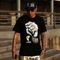 Moda personalizado plus size clothing masculino-manga curta t-shirt hiphop dos homens tendência verão t camisa preta frete grátis