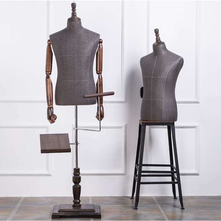 High quality half body mannequin cloth mannequin male suit table display mannequin with solid wood arms and shoes pants racks (4)