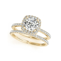QYI 14K Solid Yellow Gold Halo Wedding Ring Sets Round Cut 1ct Sona Simulated Diamond Jewelry Women Engagement Rings