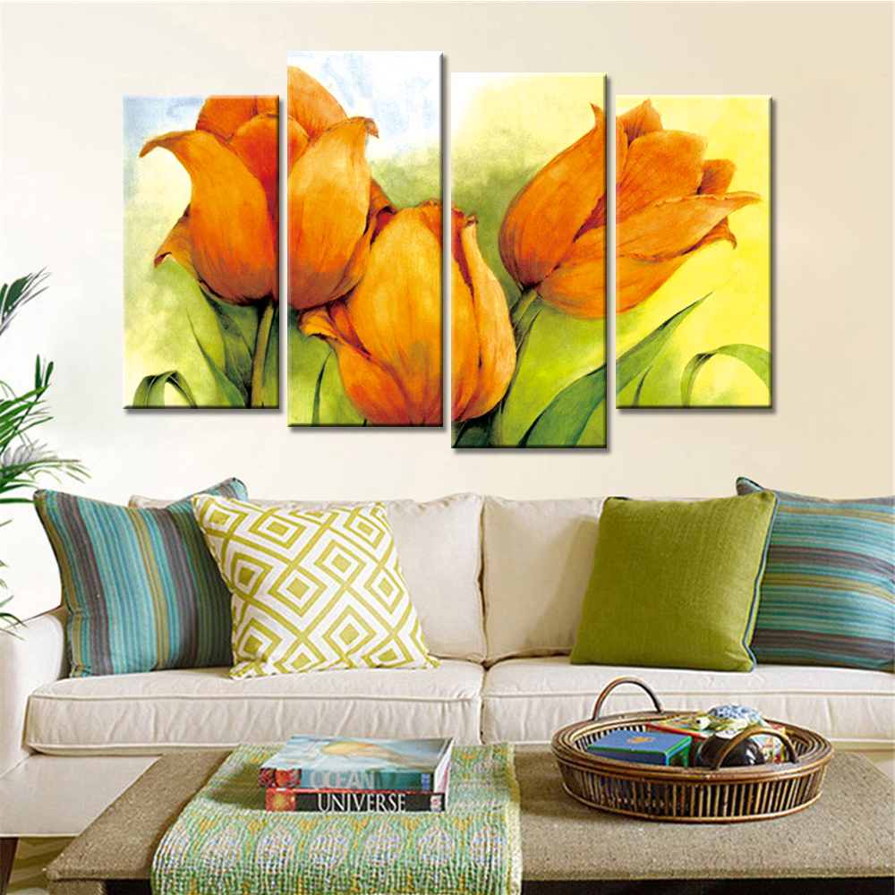 Unframed 4 Panels Modern Wall Oil Painting Flowers Canvas Art Prints ...