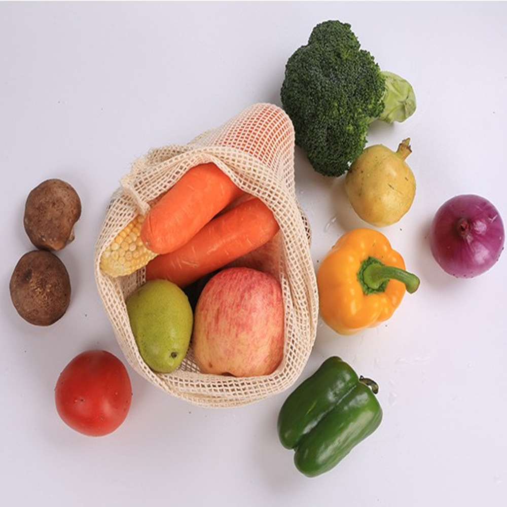 Premium Organic Cotton Mesh Produce Bags  Kitchen Fruit And Vegetable Storage Mesh Bags With Drawstring Machine Washable