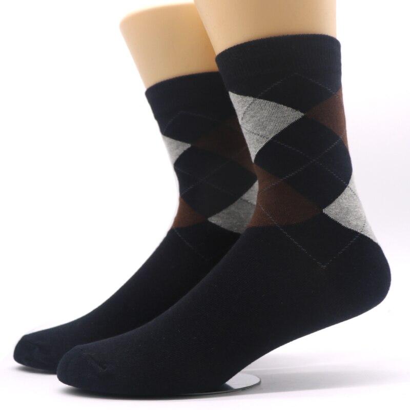 3Pairs Fashion Brand Mens Long Socks Chaussette Rhombus Cross Plaid Prints Male Socks Long Business Dress Sock Meias Homens