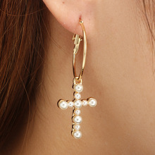 Fashion OL wind long earrings imitation pearl geometry cross female jewelry wedding party gift hot new