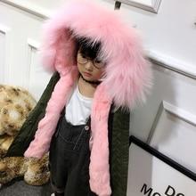 Новая зимняя кролика Меховая куртка для девочек Армейский зеленый малыш Съемная мальчиков енота меха с капюшоном пальто детские куртки парки TZ103