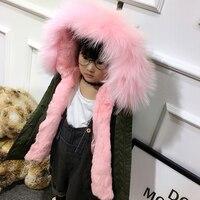 New Winter Rabbit Fur Jacket For Girls Army Green Kid Detachable BOys Raccoon Fur Hooded Coat Children Jackets Parkas TZ103