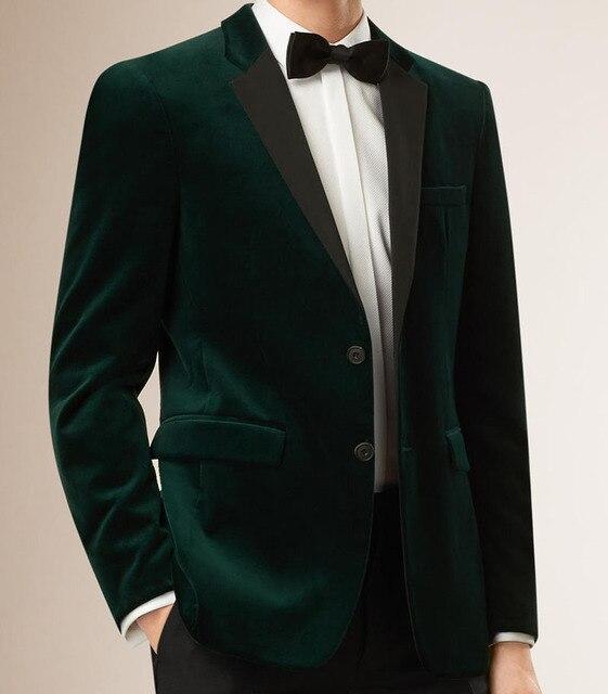 Мужские Бархатные Пиджаки Сшитое Slim Fit Темно-Зеленый Бархат Куртка Мужчины, учетом Бархат Пиджаки Для Мужчин, Мужские Бархат Пиджак