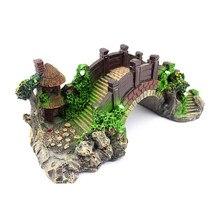 Resina decoração do aquário brinquedos de peixes ponte rockery falso ponte de rocha paisagem pavilhão árvore para tanque de peixes ornamento decorações