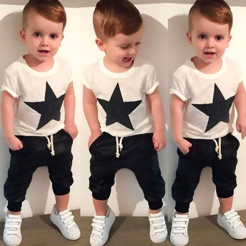 2-7Y Toddler Kids Baby Boys Star Print Tops T-shirt Harem Pants Outfits Clothes 2pcs Set Clothes Cotton White Tops