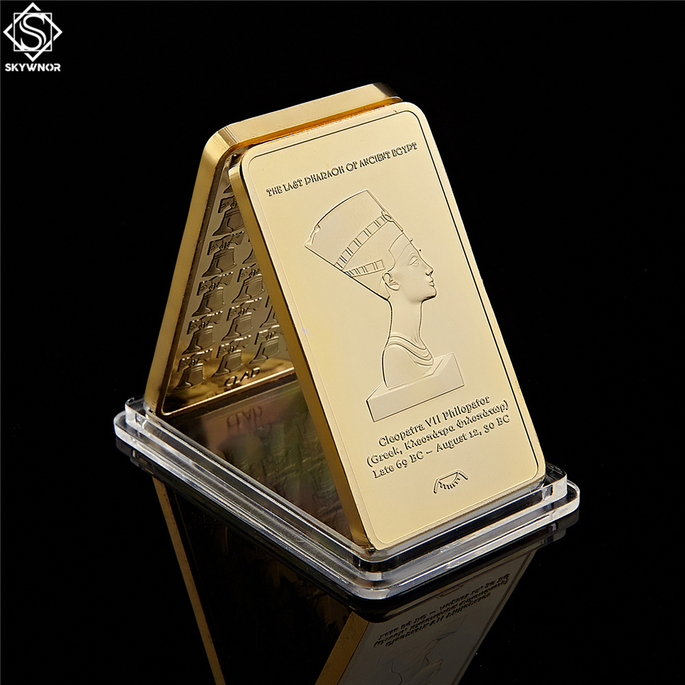 Replica Gold Bullion Egypt Queen Cleopatra VII Philopator Pyramid 1 Troy OZ 999/1000 Gold Bars 50*28*3mm Coins Collectibles