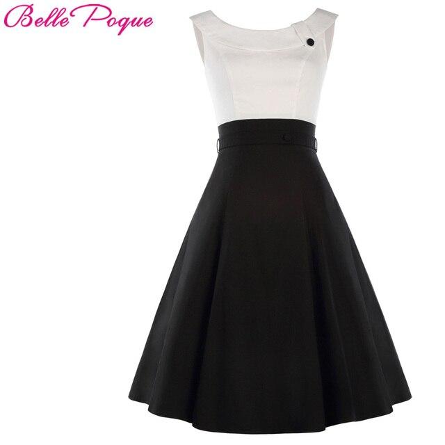 cf9202e8b Nuevo 1950 s Retro Vintage vestido de las mujeres sin mangas blanco negro  contraste Color femenino