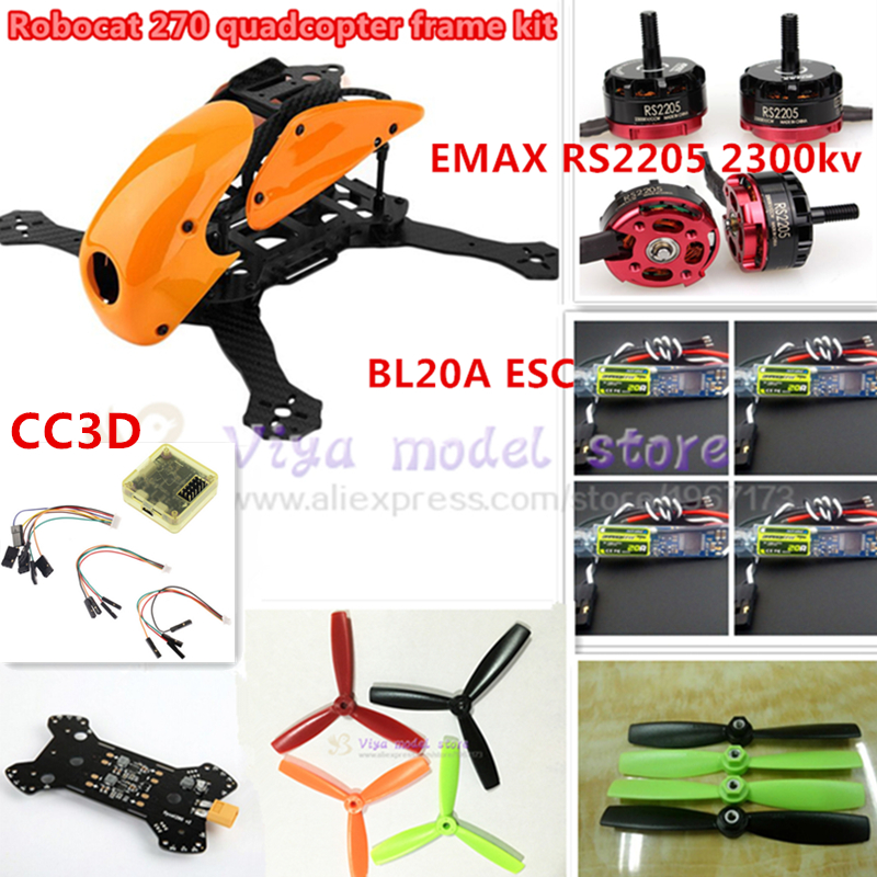 NEW DIY FPV race Robocat 270 V2 mini drone carbon Fiber frame kit NAZE32 REV6 10DOF+EMAX RS2205 2300KV+BL20A ESC oneshot125 diy mini drone fpv race nighthawk 250 qav280 quadcopter pure carbon frame kit naze32 10dof emax mt2206ii kv1900 run with 4s