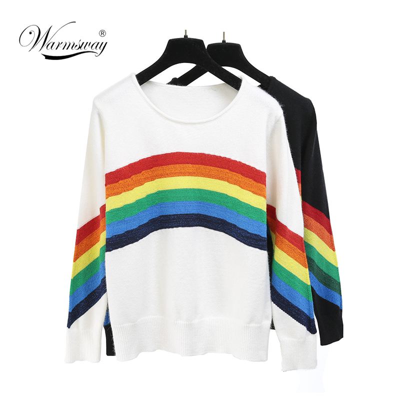 US $20.6 30% OFF|2019 Spring Autumn Designer Long Sleeve Rainbow Knitted Sweater Woman Elegant Winter Pullovers C 347 in Pullovers from Women's