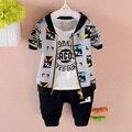 2016 nueva primavera otoño niños bebés algodón de los muchachos de la ropa de los hoodies coat + t-shirts + pants del deporte suit set niños prendas de abrigo