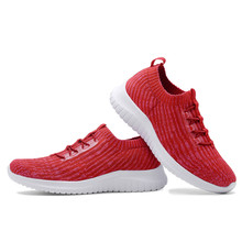 TIOSEBON Breathable Shallow Lace-Up Knit Shoes Women Sports Sneakers Ladies Lightweight Womens Flats