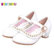 Новинка года; детская обувь; обувь на высоком каблуке для девочек; милые босоножки с бантом и бусинами; милая кожаная обувь для девочек для свадебной вечеринки; цвет розовый, белый