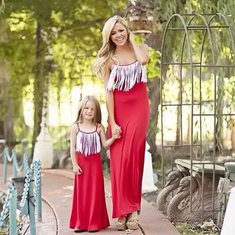 Moonlight Mother Daughter Dresses Clothes Red 2017 Fashion Tassel Family Matching Outfits Summer ...