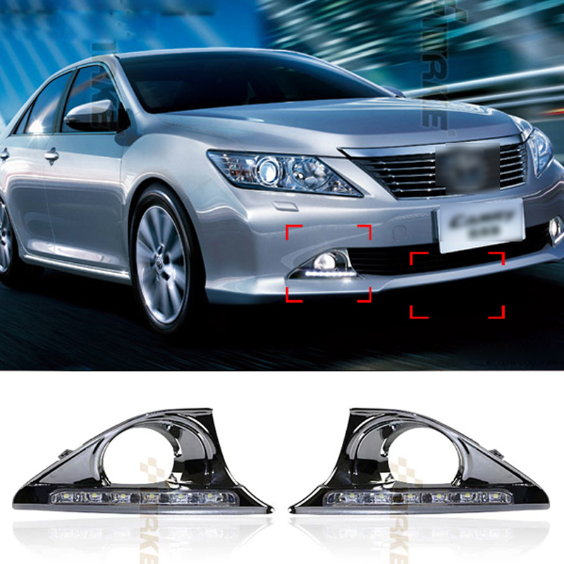 ФОТО 6 LED Car styling DRL For Toyota Camry 7th 2012 2013 2014 Daytime running lights Fog lights