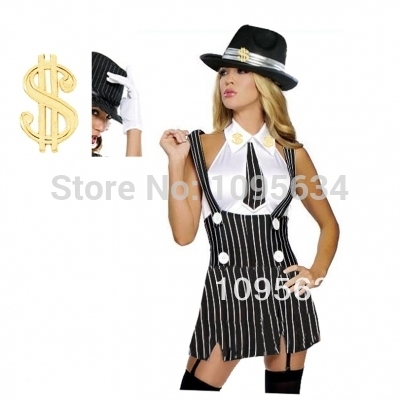 Free PP1920s Chicago Gangster Moll Ladies Fancy Dress Party Hens Costume +  Fedora Hat S M L XL 2XL 4c5feb01334