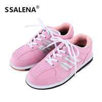 Women Professional Bowling Shoes Anti Skid Breathable Sport Sneakers Leather Comfortable Reflective Training Shoes AA11035