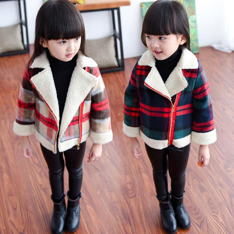 2017 Autumn Winter Children Warm Slim Coat Kids Boy Girl Plaid Fleece Zippered Jacket Casual Toddler Baby Woolen Outwear Clothes