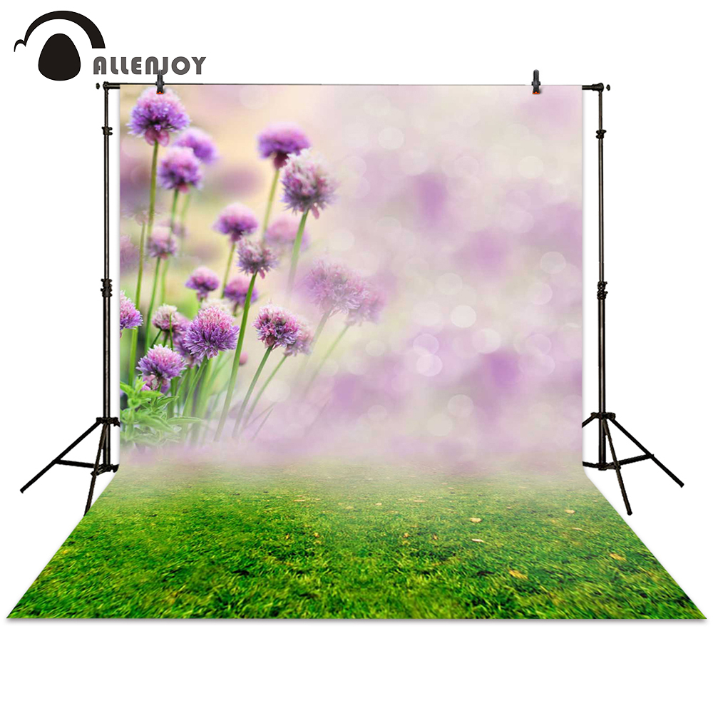 Allenjoy photography backdrops spring purple flower meadow bokeh background photocall photographic photo studio newborn baby