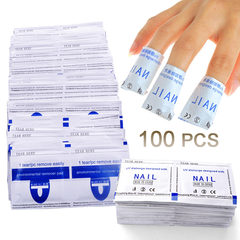 Nail Polish Remover Wraps Gel Nail Polish 100pcs Easy Soak Off Remover Manicure Nail Art Cleaner Nails Remover Tools
