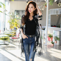 Original 2018 Brand Spring Summer Sweet Casual Black Long Floral Chiffon Blouse Women Wholesale