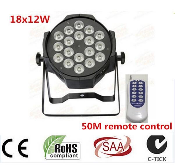 Wireless remote control 18x12W RGBW 4in1 LED Par Can Par64 led spotlight dj projector wash lighting stage light light 4pcs/lot xl m 03 4 in 1 stage lighting projector mp3 player speaker w usb sd remote controller tripod