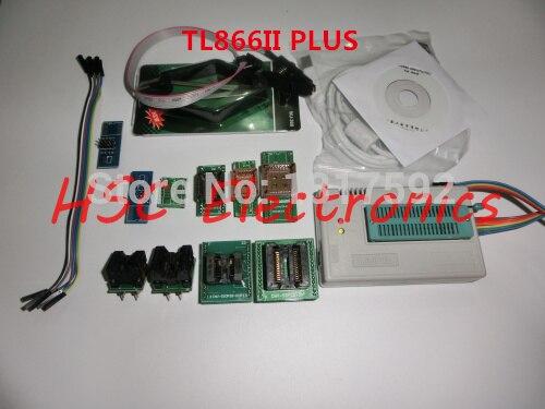 v7.03 TL866II PLU USB Universal Minipro Programmer  9PCS adapters+Test clip+25 SPI Flash adapter