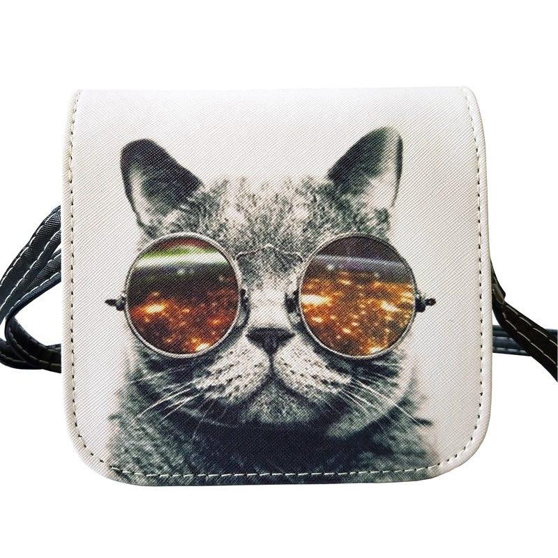 New Arrival Bolsos Carteras Mujer Marca Women PU Leather Cat Wearing Glasses Pri
