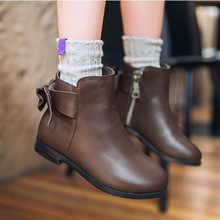 2016 Children's girls Shoes Leather Bow Princess Shoes Children Boots Girls Shoes School Students Ankle Boots Soft  Kids Boots