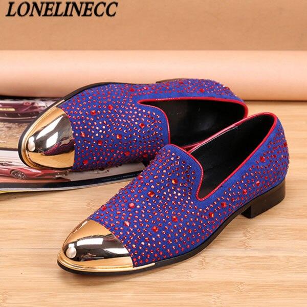 Top Quality Men'S Luxury Crystal Purple Shoe Fashin Designer Flat Studd Loafers Men Casual Red Bottom Dress Shoes Calzado Hombre studd decorated belt